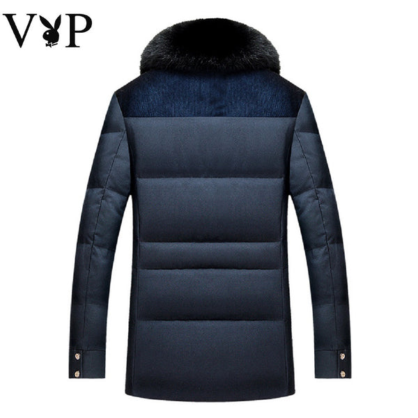 Men PLAYBOY VIP Down Jacket with Fur Collar-MEN-Fashionapolis