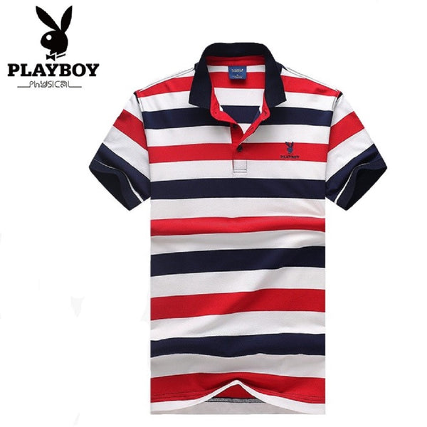 Men PLAYBOY PHYSICAL Striped Polo Tee-MEN-Fashionapolis