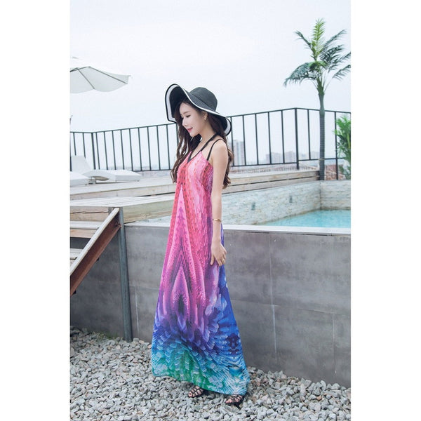 Women Chiffon Spaghetti Strap Backless Long Dress Fashionapolis