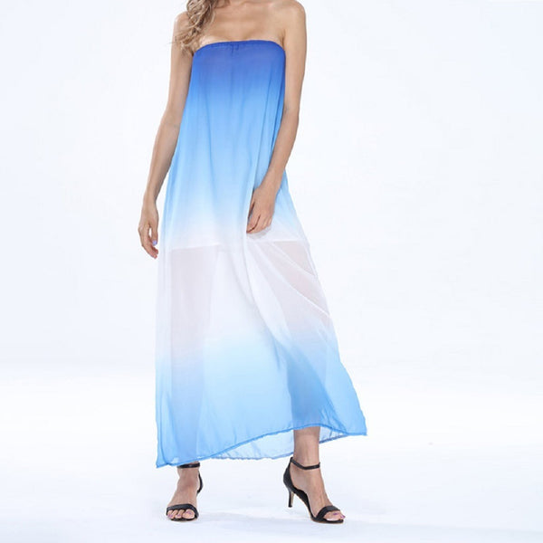 Women Strapless Gradient Chiffon Maxi Summer Dress-WOMEN-Fashionapolis
