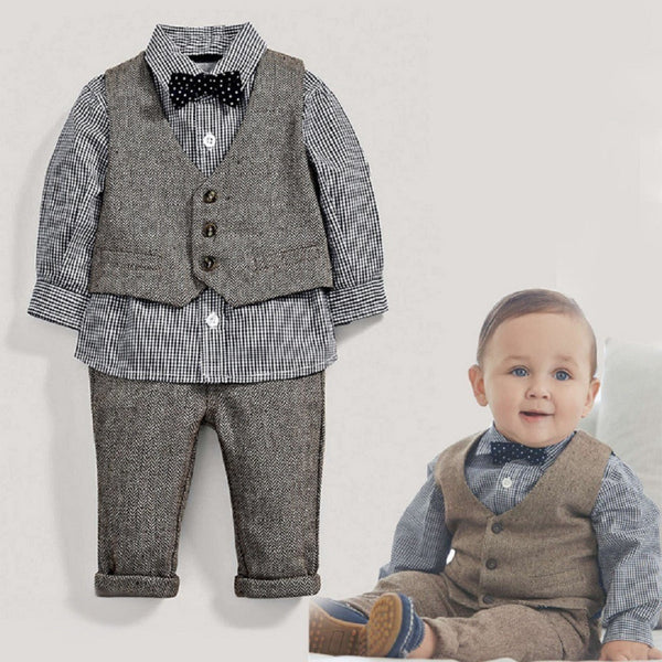 Kids Baby Children Boy 4 Piece Plaid Top Pants Jacket Tie-Kids & Babies-Fashionapolis