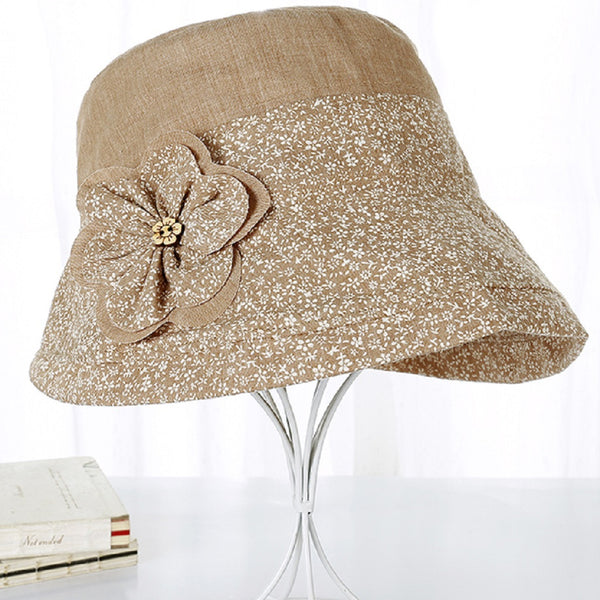 Women UV Protection Fisherman Summer Flower Bow Hat-Fashion Accessories-Fashionapolis