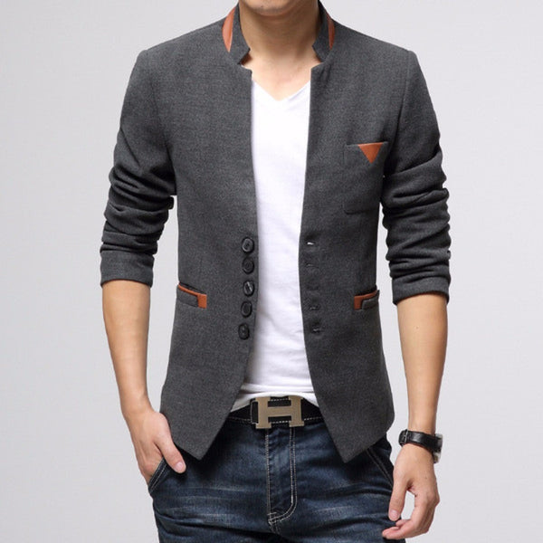 Men Multi Button PU Flap Suits Blazers-MEN-Fashionapolis
