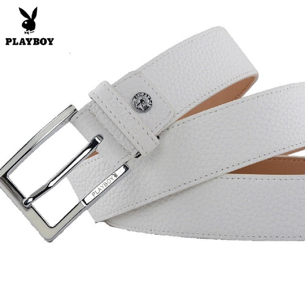Men PLAYBOY Classic Pin Buckle Belt-Fashion Accessories-Fashionapolis