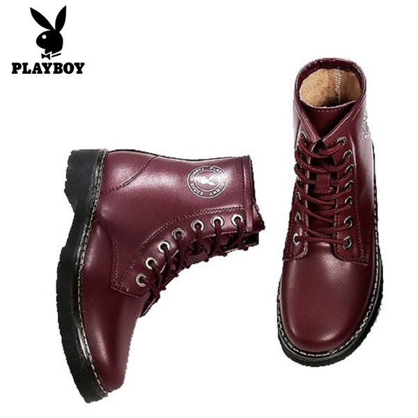 Women PLAYBOY BUNNY Faux Leather Boots-Shoes-Fashionapolis
