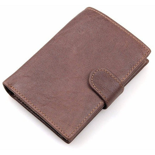 Men RFID Blocking Genuine Cowhide Leather Trifold Wallet-Bags-Fashionapolis