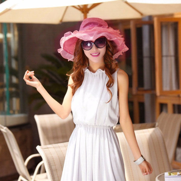 Women UV Protection Foldable Floral Summer Hat-Fashion Accessories-Fashionapolis