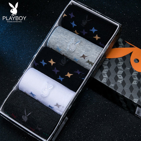Men 5 Pairs PLAYBOY Twinkle Star Socks Fashionapolis Perfect for Gifts