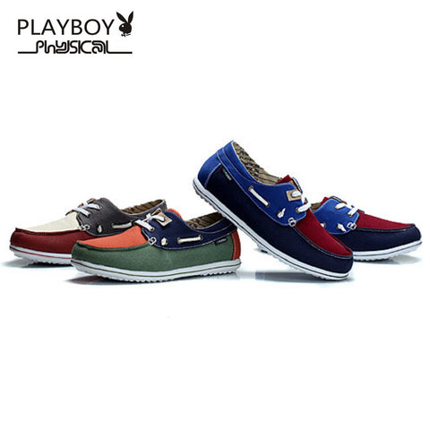 Men PLAYBOY PHYSICAL Canvas Boat Shoes Slip On Loafers Fashionapolis