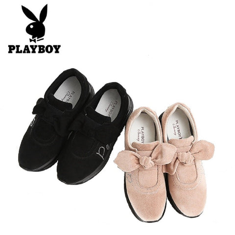 Women PLAYBOY BUNNY Velvet Bow Sneakers Thick Sole Shoes Fashionapolis