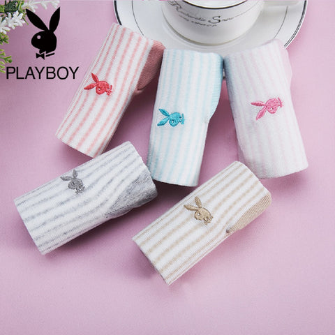 Women 5 Pairs PLAYBOY BUNNY Cute Bunny Striped Socks Fashionapolis Perfect for gifts