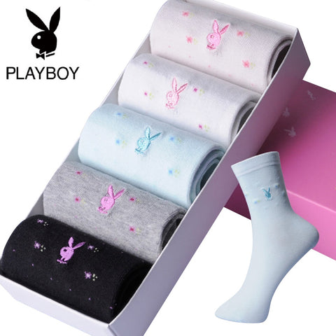 Women 5 Pairs PLAYBOY BUNNY Cute Bunny Dotted Socks Fashionapolis Perfect for Gifts