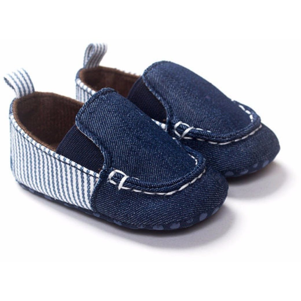 Kids Baby Boy Denim Canvas Slip On Flat Prewalker Shoes-Shoes-Fashionapolis
