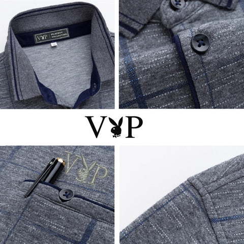 Men PLAYBOY VIP Long Sleeve Business Checkered Polo Tee