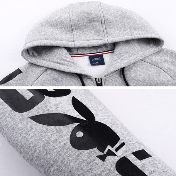 Men PLAYBOY PHYSICAL Signature Sleeve Logo Hooded Jacket-MEN-Fashionapolis
