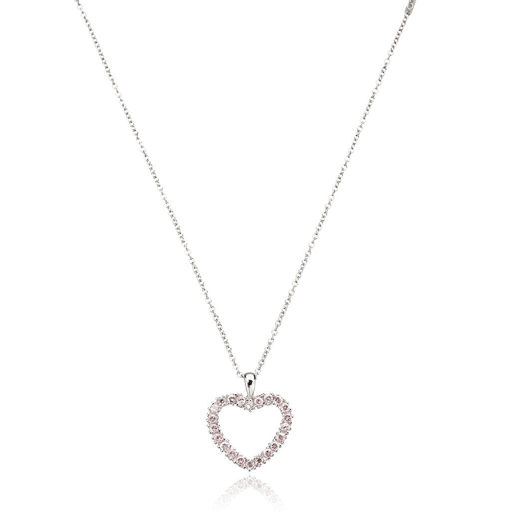 Miss Crislu Pink Open Heart Necklace .40cttw