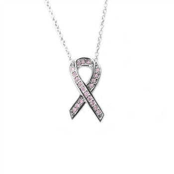 Pink Ribbon Necklace (Pink)