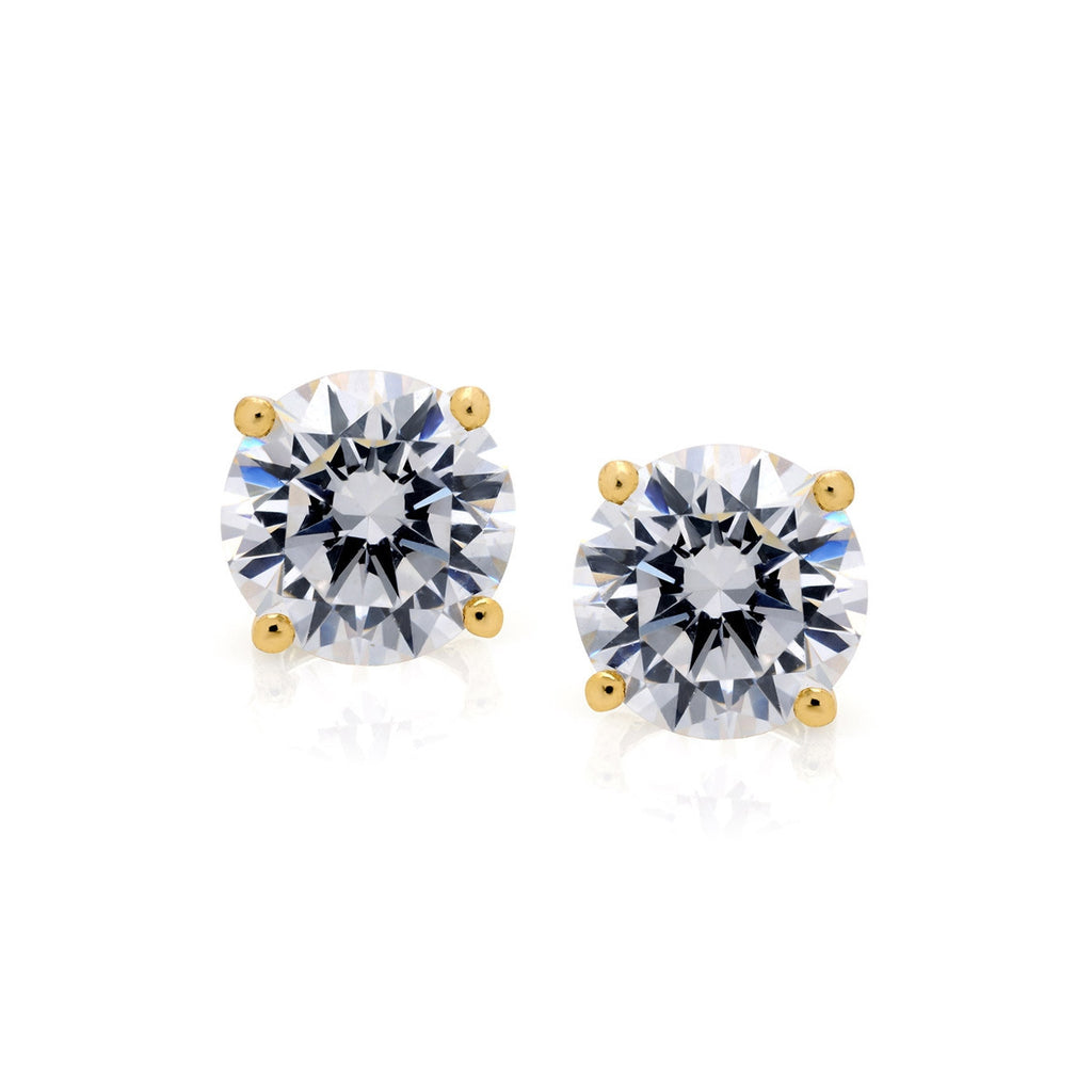 CRISLU 4.0 ct Gold Solitaire Earring