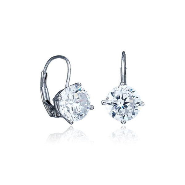 CRISLU Cubic Zirconia 2.0 cttw Leverback Earrings
