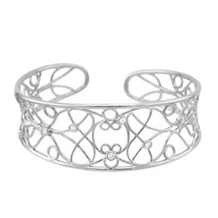 Sterling Silver Cuff Bracelet with Cubic Zirconia