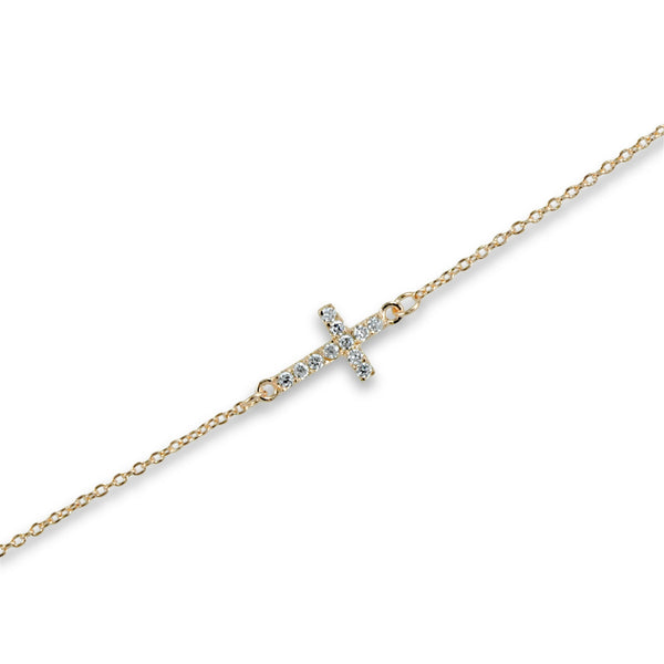 Sideways Cross Anklet (Rose Gold)
