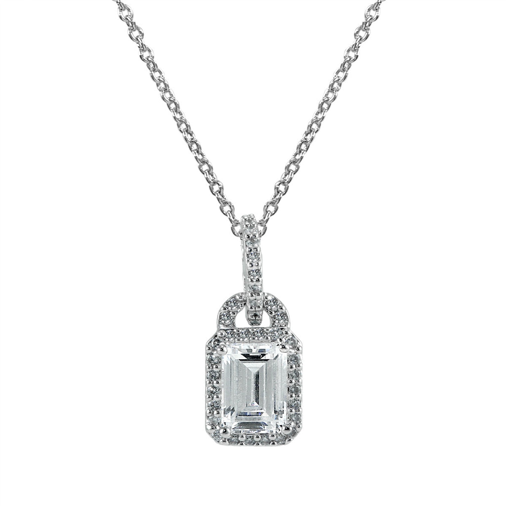 Emerald-Cut Halo Necklace