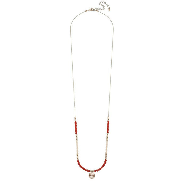 Canvas Orange Glass Disc Drop Necklace at J Grace & Co