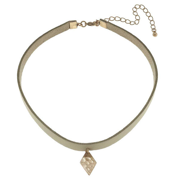 Canvas Diamond-Shaped Charm Leather Choker at J Grace & Co