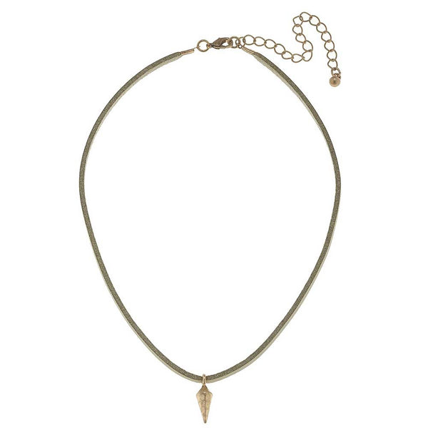 Canvas Spike Charm Leather Choker at J Grace & Co