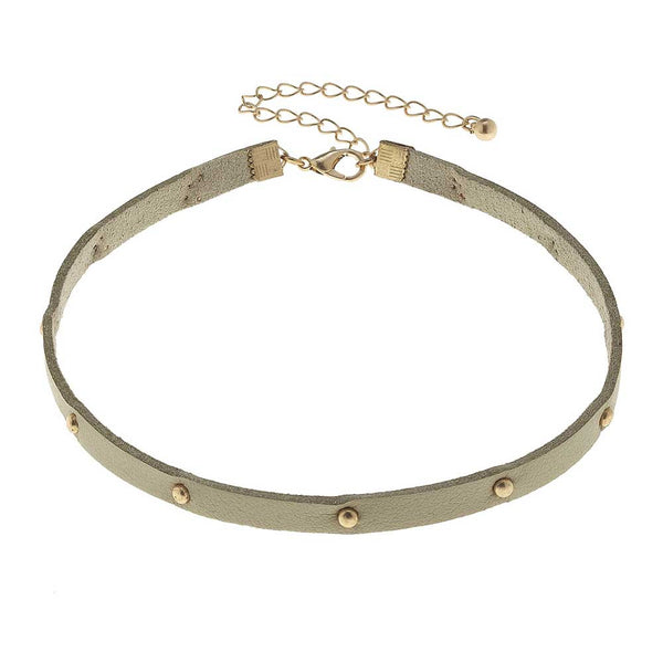 Canvas Natural Suede Metal Stud Choker at J Grace & Co