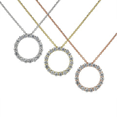 Circle of Life Eternity Necklace in Silver, Gold, and Rose Gold