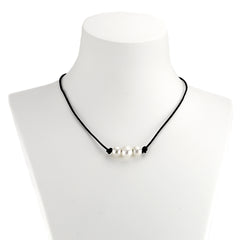 Freshwater Pearl Leather Necklace at J Grace & Co