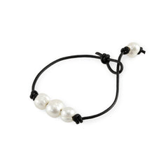 Freshwater Pearl Leather Bracelet at J Grace & Co