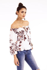 Veronica M. Jonas Off The Shoulder Floral Top