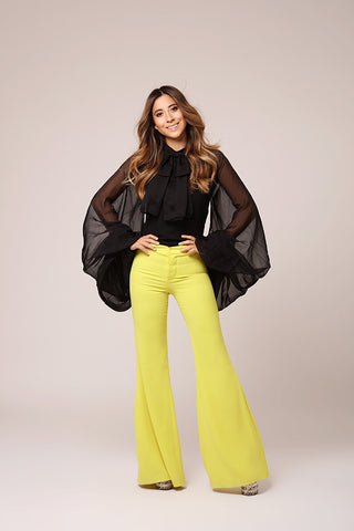 Lemon Yellow Flared Pants