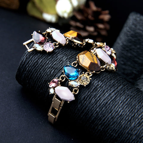 Charming Wide Gemstones Bracelet. Free Shipping!