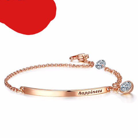 Cubic Zirconia Rose Gold Color Bracelet. Free Shipping!