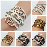 Leather Double Infinite Multilayer Bracelets.Various Styles & Colors. Free Shipping!