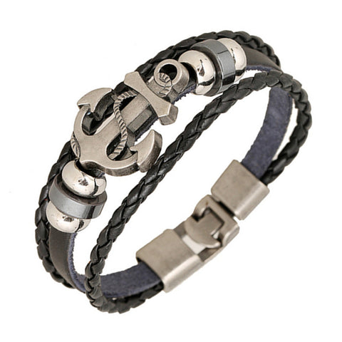 Anchor Alloy Leather Bracelet Men & Women. Various Styles. Free Shipping!