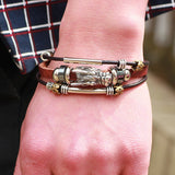 Tibetan Silver Men Leather Bracelet. Free Shipping!