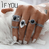 Turkish Vintage Ring Sets 5 PCS Antique Alloy Nature Blue Stone Rings. Free Shipping!