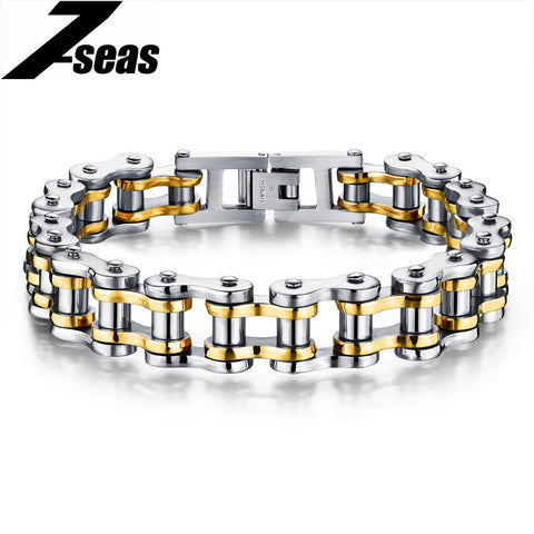 Cool Men Biker Bicycle Motorcycle Chain Bracelets 4 Color 316L Stainless Steel. Free Shipping!