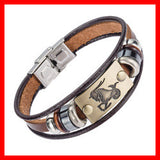 12 Zodiac Signs Bracelet With Stainless Steel Clasp & Leather. Free Shipping!