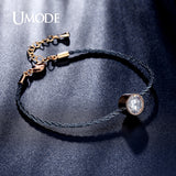 UMODE 1.5ct  CZ Crystal Gold Plated Solitaire Rope Chain Bracelet. Free Shipping!