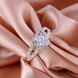 Silver Plated Crystal Love Heart Shaped Ring. Free Shipping!