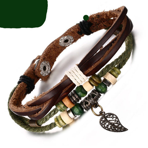 Vnox Brown Genuine Leather Bracelet. Various Styles. Free Shipping!