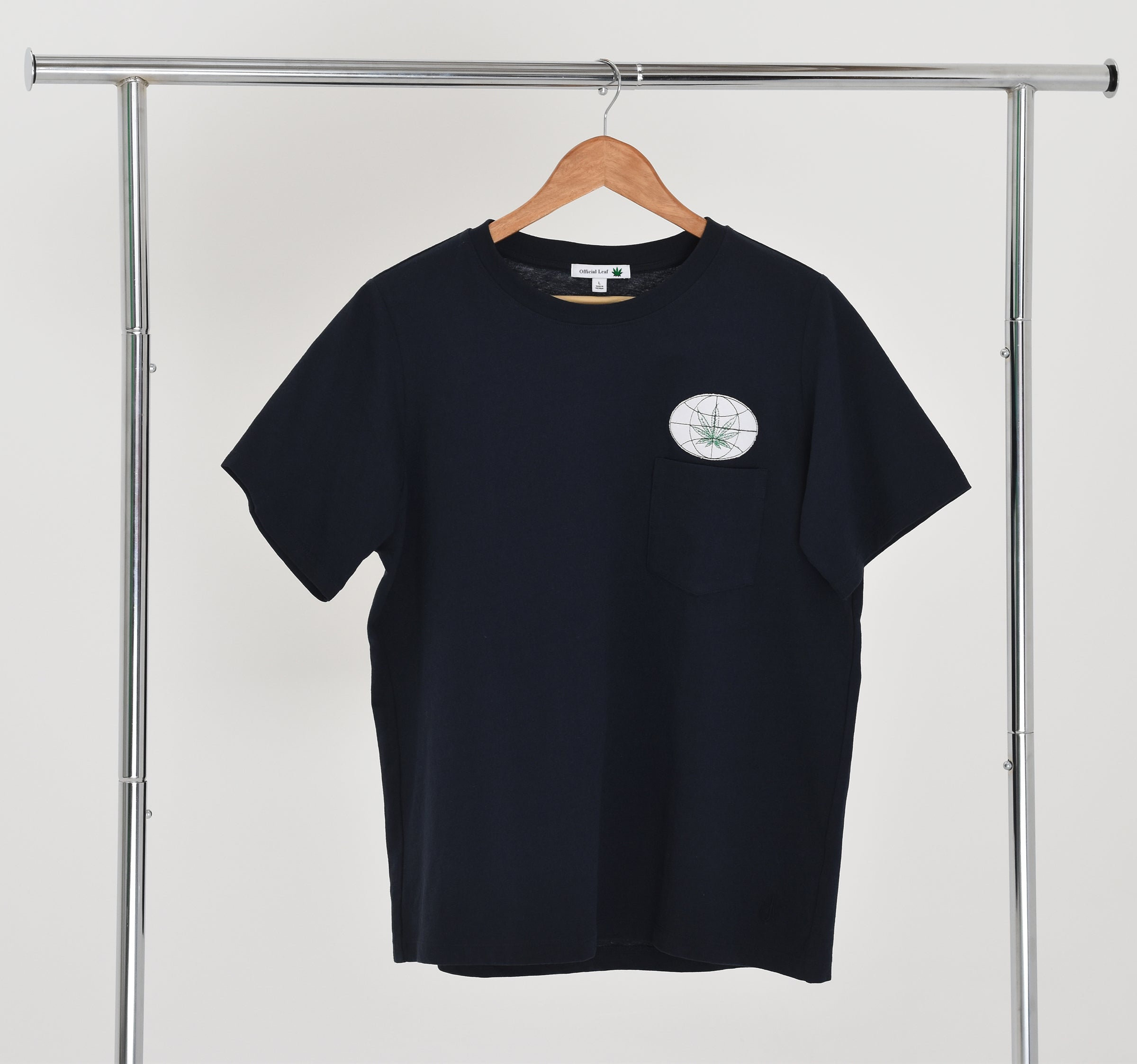 Navy Blue Official Leaf Pocket Tee with Applique