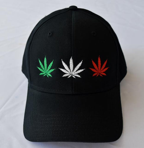 Baseball hat with 3 Classic Official Leaf Cannabis Leafs