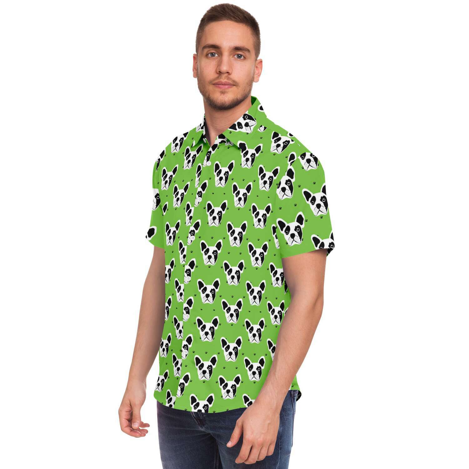 Ace - Sleeve Button Down Shirt - Frenchie Bulldog Shop