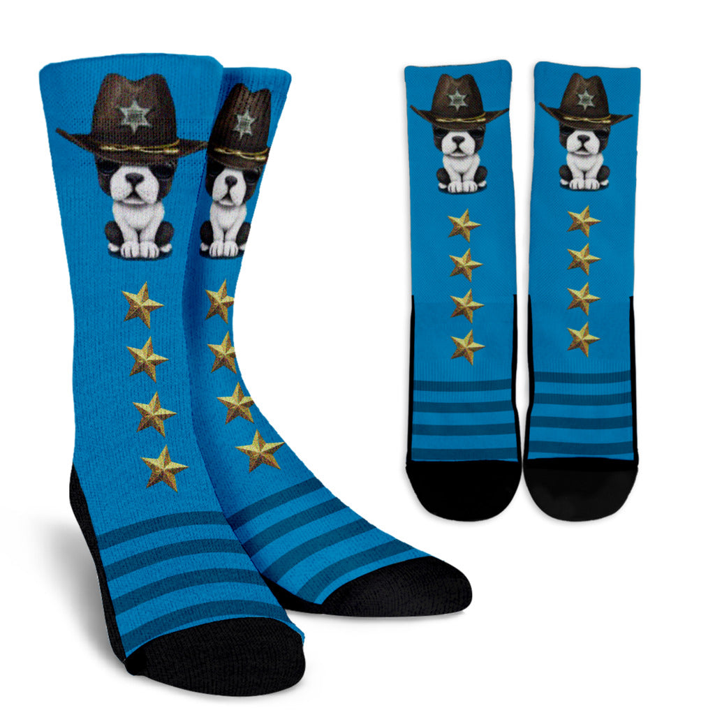 Funny Police Frenchie - French Bulldog Crew Sock - frenchie Shop